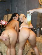 Jayden James plus Alexis Texas. These horny busty, big ass sluts ride the cock